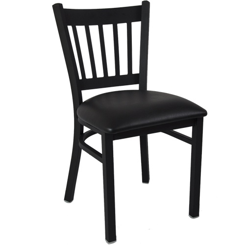 Advantage Black Metal Restaurant Chair Vertical Slat Back Style / Black Padded - These quality constructed restaurant chairs are durable and sturdy featuring 18 gauge steel powder coated frames and heavy duty, black vinyl padded seats with 2-lb density virgin polyethylene foam cushioning. These black metal vertical slat back restaurant chairs also feature a vertical slat back restaurant chair design that are constructed from a single sheet of 14 gauge stamped steel.  [RCVB-TBFBV]
