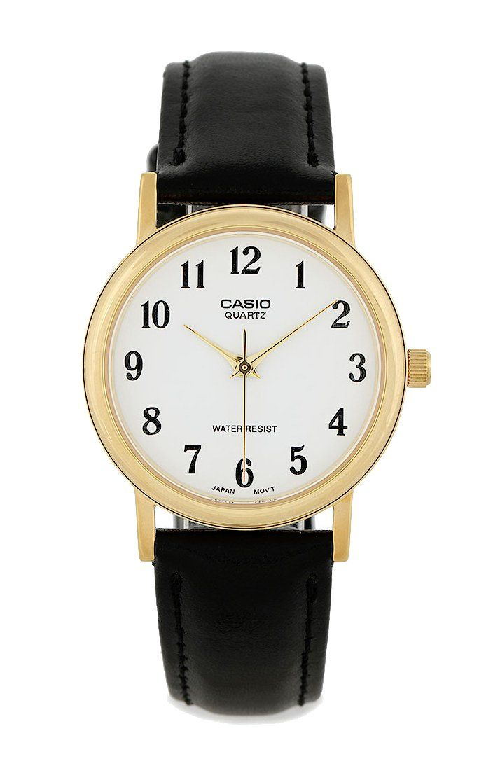 Are you classic enough? Mtp 1095Q 7B Watches by CASIO is a perfect watch for you who like classic style. Analog watch with classic style, leather strap, gold stainless steal, a combination of gold and black sure make tthis watch timeless. This classic watch is water resistant, with diameter 3 cm, strap length 24 cm.  http://www.zocko.com/z/JG0jw