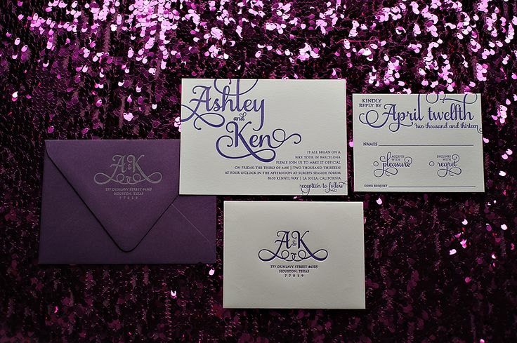 Hot Pink And Purple Letterpress Wedding Invitations With Glitter