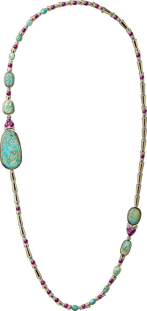 CARTIER. Long necklace - yellow gold, platinum, thirteen carved ancient turquoises totalling 53.35 carats, cabochon-cut rubies, brilliant-cut diamonds.