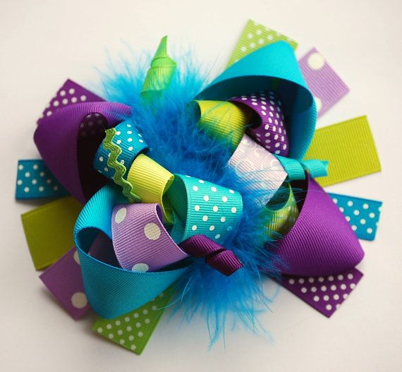 boutique FUNKY fun BRIGHT PEACOCK hair bow clip by andjane on Etsy, $12.99