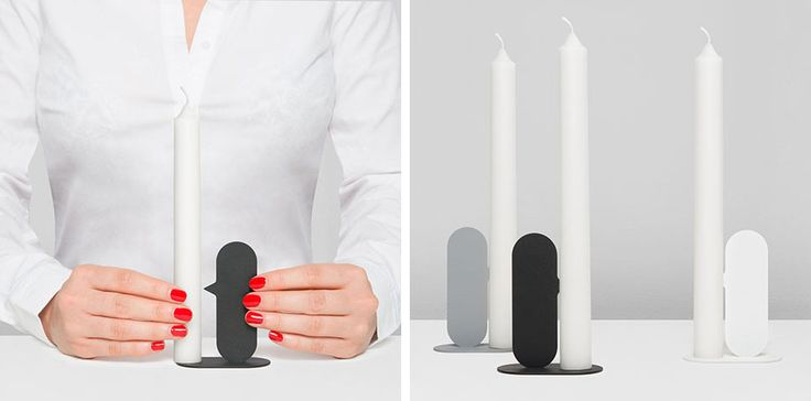 Belgian industrial designer Quentin de Coster has designed NOSE, a prototype for a minimalist candle holder, where the candle is held in place on the nose of the abstract profile. The candle holder is made from two pieces of laser cut steel that are then welded together. Once welded, the pieces are