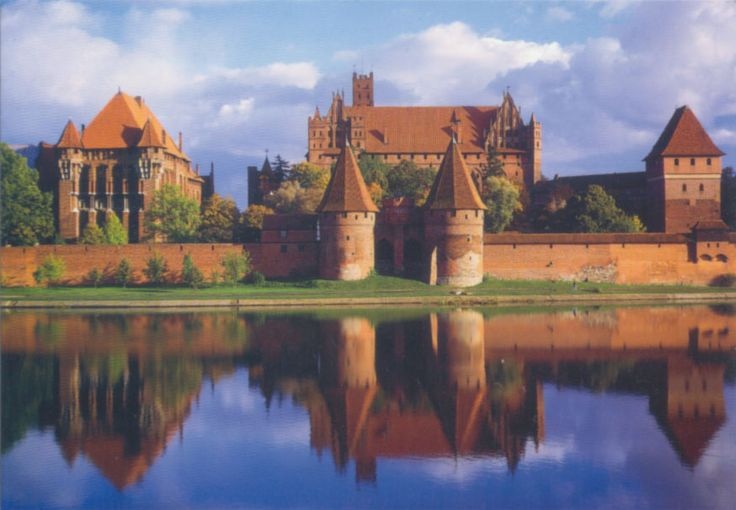 The Castle of the Teutonic Order in Malbork, Poland - is an example of medieval fortresses and built in the typical style of northern German Brick Gothic. On its completion in 1406 it was the largest brick castle in the world