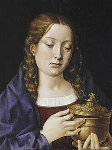 """Michael Sittow, Mary Magdalene, probably using Catherine as model - Catherine was of a very fair complexion, had blue eyes, and had a hair that was between reddish-blonde and auburn.  During her lifetime she was described as """"The most beautiful creature in the world.""""  Saint Thomas More and Lord Herbert would reflect later in her lifetime that in regard to her appearance """"There were few women who could compete with the Queen [Catherine] in her prime."""""""