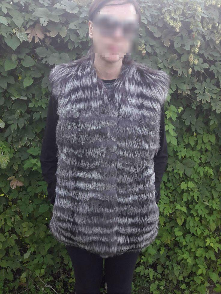 real SILVER FOX FUR Vest - Silberfuchs Pelzweste - Gilet di Pelliccia - чернобурка меховой жилет by DamianKastorianFurs on Etsy