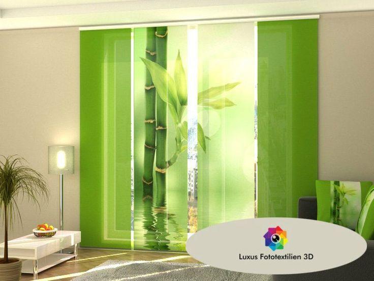 "Schiebegardine ""Bambus"" Schiebevorhang 4-Set Luxus Fotodruck 3D. Maßanfertigung kaufen bei Hood.de"