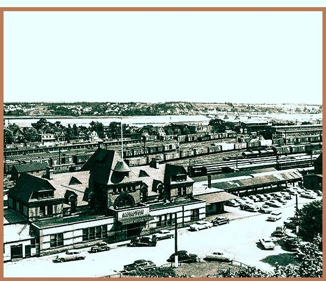 MONCTON, New Brunswick, Canada  Canadian National Railways station-gare -aerial view - Château Style architecture
