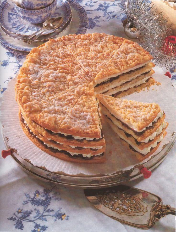 Friese kersttaart uit de bakencyclopedie gemaakt in maart 2016. Veel werk door het apart bakken van 4 bodems. Uiterlijk niet zo mooi. Smaak wel goed.