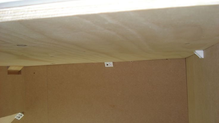 08. Used plywood for the ceiling as it's so much lighter than MDF. It was fixed so that a small horizontal 'lip' was created at the top of the doorway to stop the door falling through