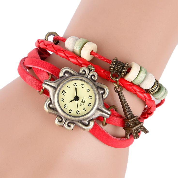 >> Click to Buy << Fashion Women Ladies Modern Bracelet Quartz Female Wrist Watch Dress Women Eiffel Tower Jewelry Retro Leather Gift #Affiliate