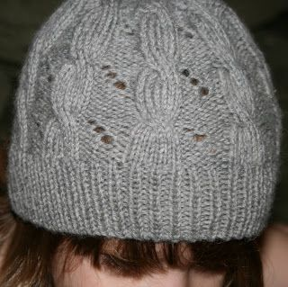 Hermione Cable & Eyelet Hat, knitting pattern based on Harry Potter and the Deathly Hallows.