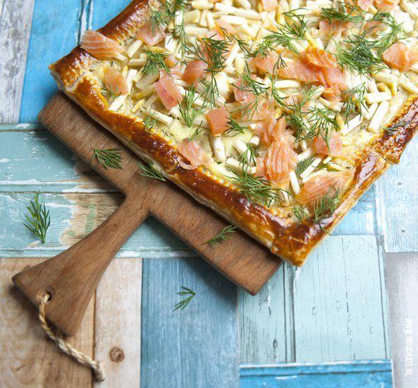 asperge plaatpizza met zalm kinderen #asperges #zalm