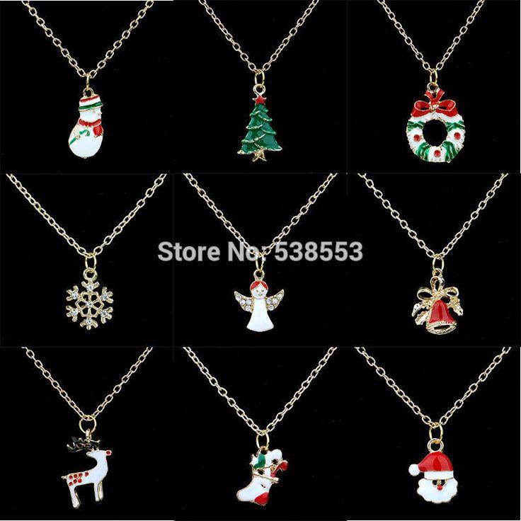 2015 новый год рождественский подарок мода роскошные блестящий горный хрусталь снежинка колокол олень рождественская елка подвески длинное ожерелье ювелирные изделия купить на AliExpress