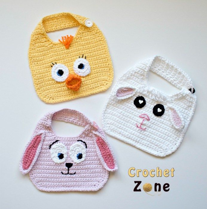 Free Crochet Pattern: Animal Friends Bibs on CrochetZone.com