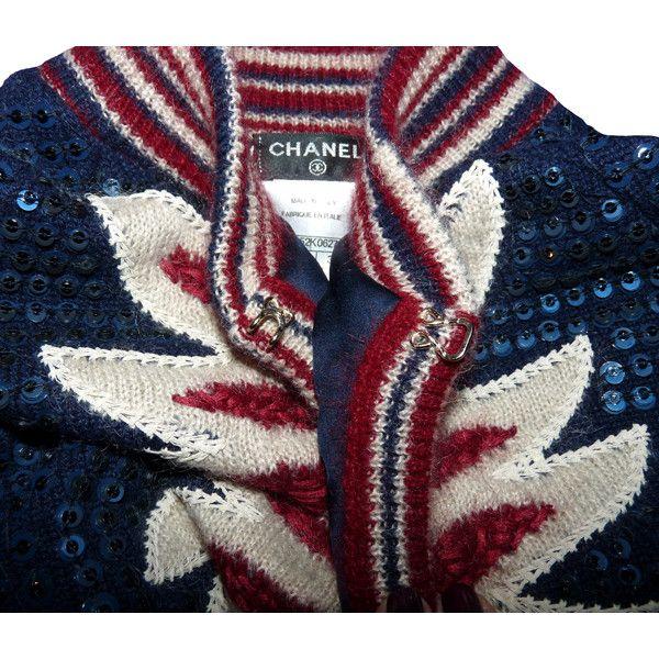 depot vente de luxe en ligne chanel cardigan en cachemire bleu nuit et sequins collection paris-dallas | TendanceShopping.com found on Polyvore