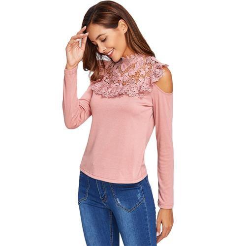Open Shoulder Floral Lack Yoke Casual Tee Pink Women Long sleeve Tops High Neck Elegant Women Tee Shirt
