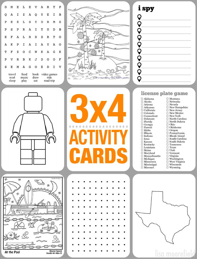 3x4 activity cards for kids- Oh I love this! I can see putting these on index cards and then laminating the whole thing and giving the kids a kit of these cards and dry erase markers for a road trip. Too fun!