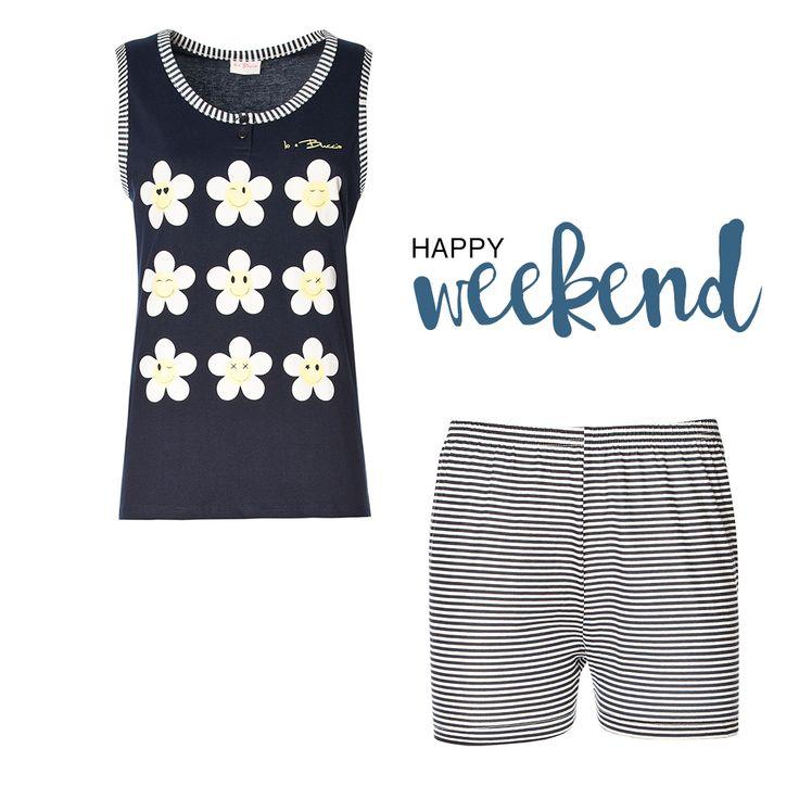 Happy Weekend! #Pigiama in puro cotone: maglia spalla larga e pantaloncino corto a soli 10,43€ #bucciadimela #saldi #offerte