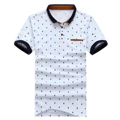 POLO Shirt Men Cotton Fashion Skull Dots Print