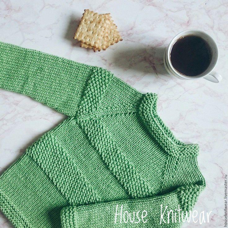 Купить Детский свитер,хлопковый свитер,одежда для детей - зеленый свитер, зеленое, зеленый цвет