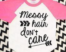 Messy Hair Don't Care Black Glitter Shirt Baby Shower Gift Toddler Girl Top Baby Sparkle Neon Pink Raglan Hipster Baby Clothes Baseball Tee #babyclotheshipster #babygirltees #babygirlteeshirts