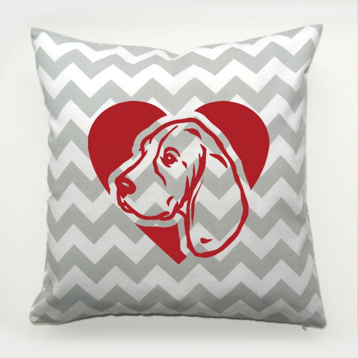 Decorative Pillow Beagle Dog Heart by PSIAKREW on Etsy