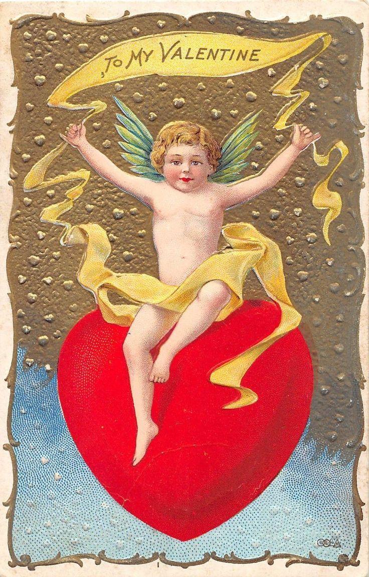 C26/ Valentine's Day Love Holiday Postcard c1910 Nash Cupid Gold Heart 11 | eBay