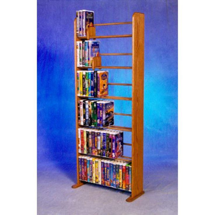 The Wood Shed Solid Oak 6 Row Dowel VHS Disney Clamshell Style Media Rack Clear Oak - 605C