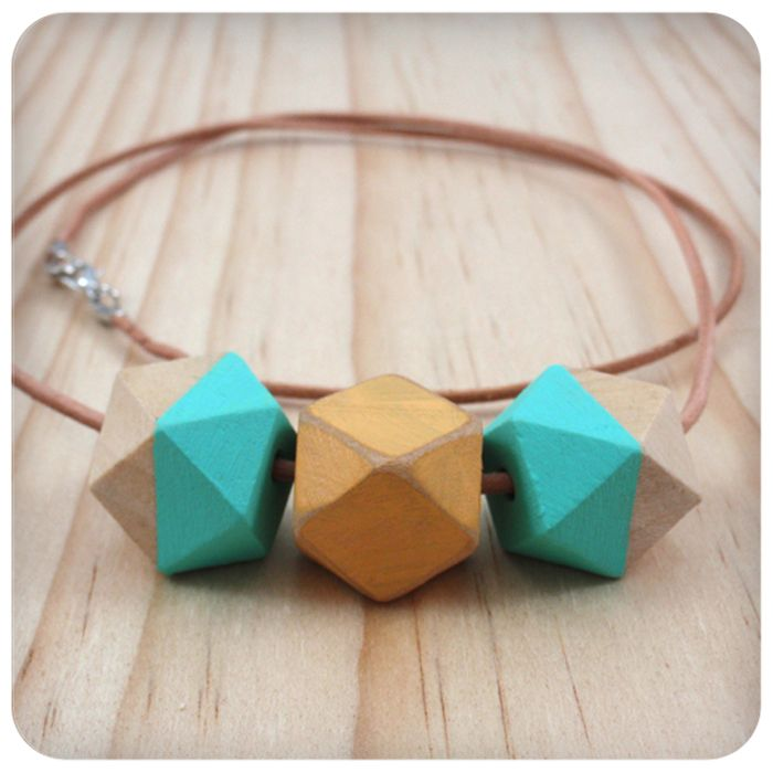 Yellow and Aqua Wooden Geometric Bead Necklace with leather strap | Foxy Miss Fox | madeit.com.au