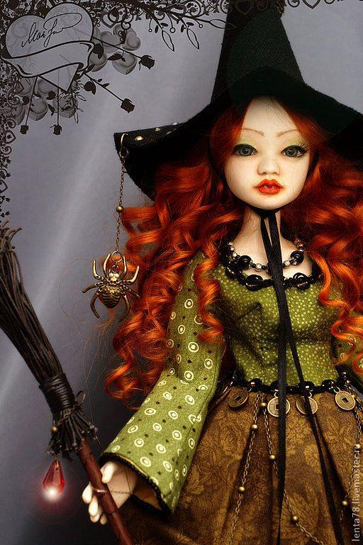 """Купить Шарнирная кукла """"Ядвига"""" - рыжий, шарнирная кукла, ведьма, ведьмочка, хеллоуин, кукла"""