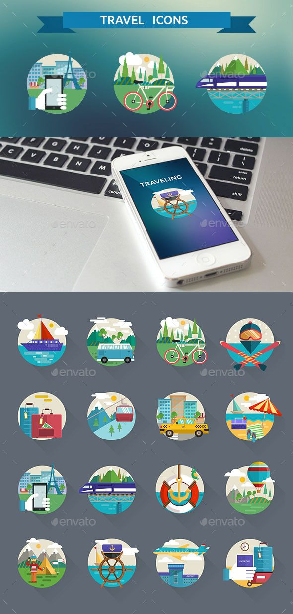 Travel icons available on #Graphicriver