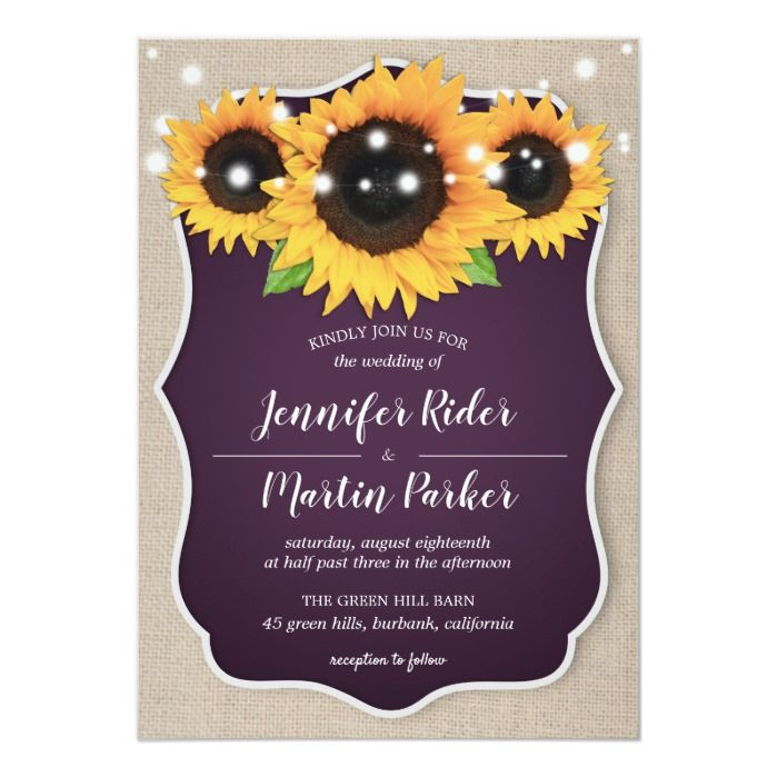 Purple And Yellow Wedding Invitations Rustic Wedding Invitations