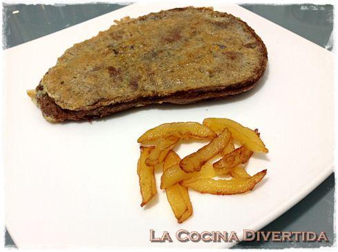 Trampantojo de Hígado rebozado con patatas (Filete de chocolate con manzana frita)