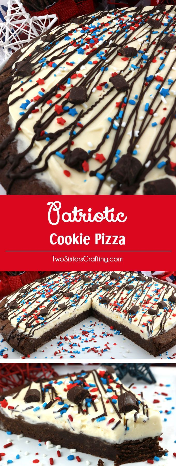 Patriotic Cookie Pizza - a fun and yummy dessert pizza made with chocolate cookie and vanilla ice cream topped with gorgeous red white and blue sprinkles. This Fourth of July dessert will wow the guests at your 4th of July party or Memorial Day Barbecue. Pin this 4th of July treat for later and follow us for more great 4th of July Food ideas.