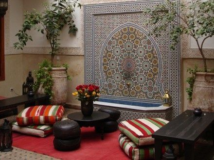 Moroccan Wall Fountain As A Part Of The Living Room Decor Uniqueness