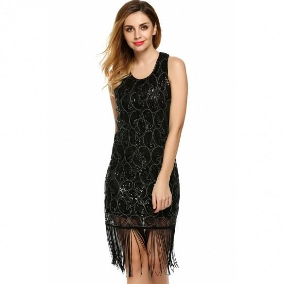Women O-Neck Sleeveless Sequins Tassel Mini Sexy Dress