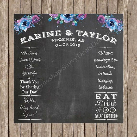 Twilight Watercolor Flowers Wedding Photo Backdrop Chalkboard Printable