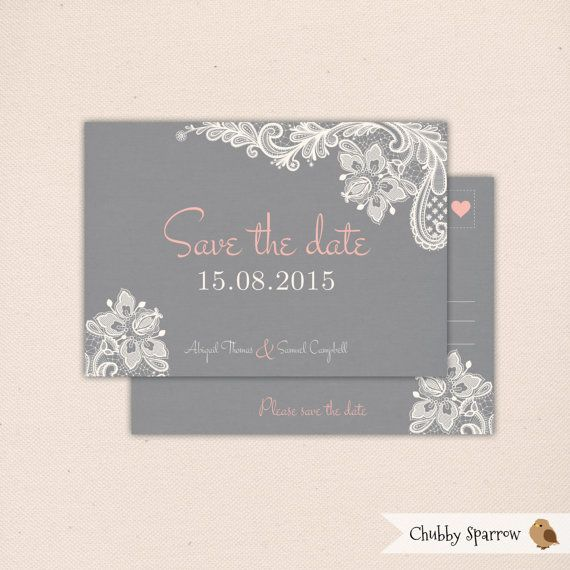 Grey Lace & Linen Wedding Invitation Engagement by ChubbySparrow