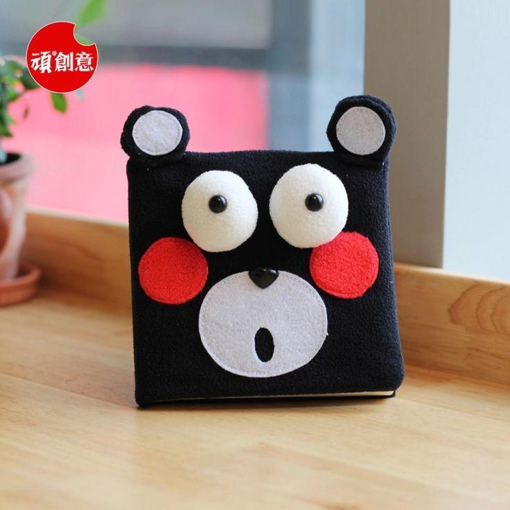 2015 Cute Cartoon Black bear Velveteen notebook creative trends Notebook Diary Planner Notepad for kids Gift DIY Stationery