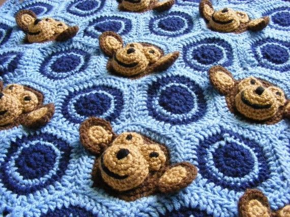 Email Crochet Baby Blanket PDF PATTERN - Baby Boy Feel and Learn Blanket, Stroller Blanket - Light Blue, Navy Blue Monkeys, Circles Pattern. $2.00, via Etsy.