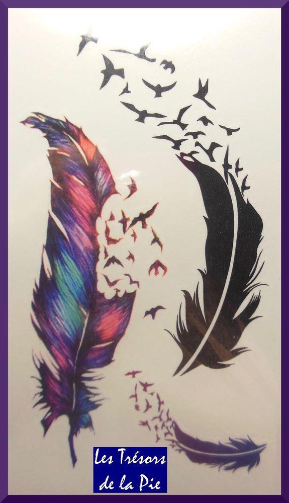 TATOUAGES TEMPORAIRES TATOO (x3) - Body art - Plumes & oiseaux - Multicolore
