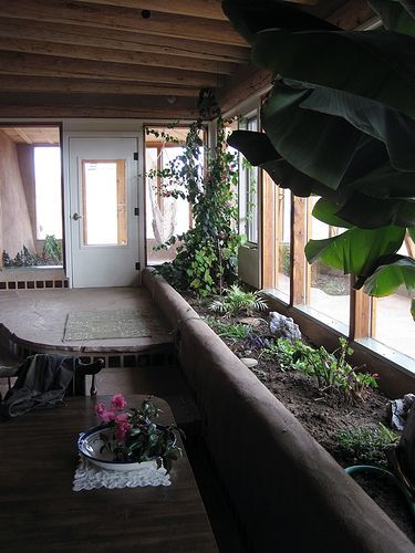 cob greenhouse | planters cob greenhouse indoor gardening earth ship earth housing ...