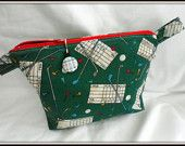 THIS BAG SOLD...................... Golf Themed Pastel Cosmetic Bag - Zippered and Lined is discounted by 10% now until April 30th, 2014