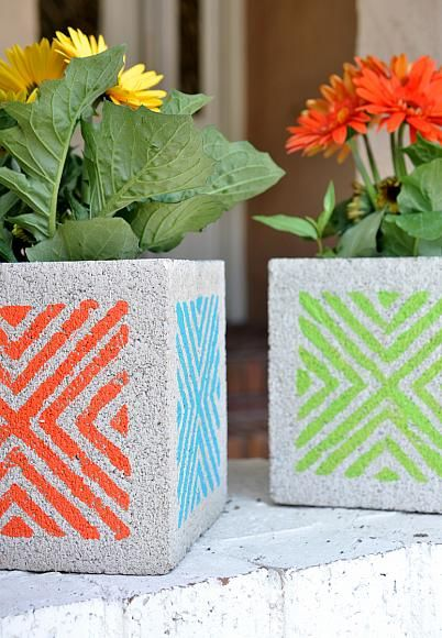 DecoArt Blog - Project - Stenciled Concrete Block Planters #crafts #diy #planters