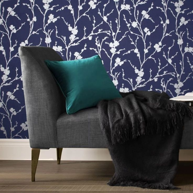 Blue and Silver Wallpaper | Meiying Cobalt Wallpaper in ...