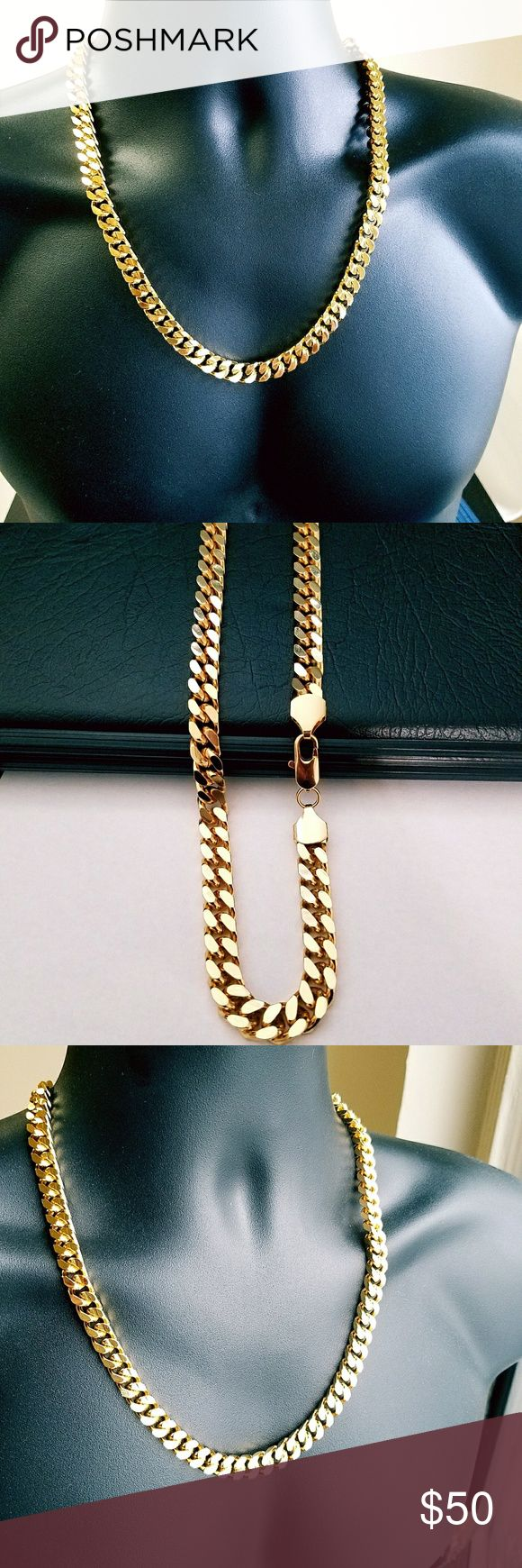 24k Gold Beautiful HIP HOP Chain/ Necklace Curb Link is made out of 24k gold filled.,Do not compare gold filled jewellery to plated because there are no comparison.  Gold Filled, is extremely long lasting and if taken care of. Gold filled is not to be confused with gold plating as filled literally has 100% more gold than gold plating.  Gold filled is much more valuable and tarnish resistant than plated,. C-086 Accessories Jewelry