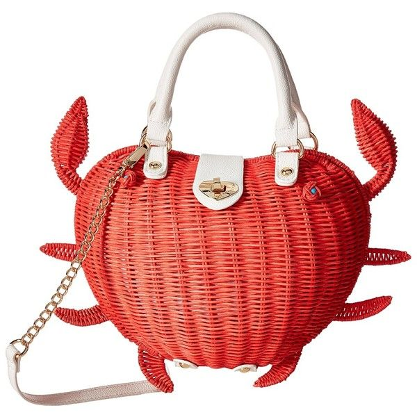 Betsey Johnson Crab Calloway Crossbody (Coral) Cross Body Handbags (€87) ❤ liked on Polyvore featuring bags, handbags, shoulder bags, handbags crossbody, betsey johnson handbags, chain strap shoulder bag, chain strap purse and red crossbody