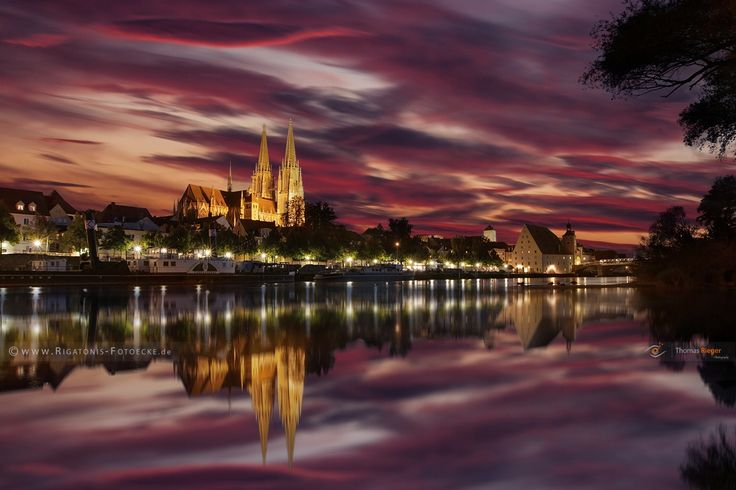 red sky - An incredible sunset in Regensburg
