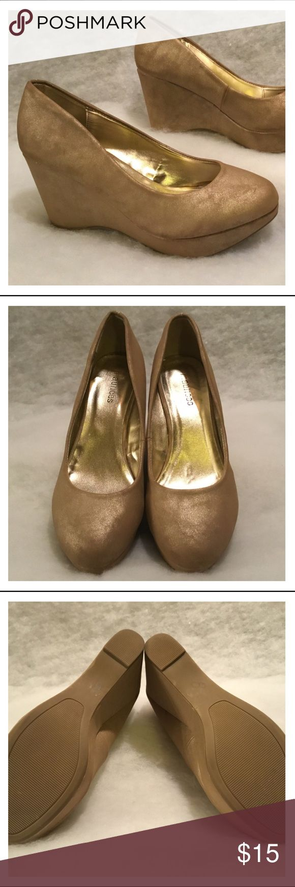 Maurices Metallic Gold Wedge Style Shoes All man made materials, suede appearance and feel, metallic gold, thick wedge style with extreme grip rubber bottoms. Well cared for. Maurices Shoes Wedges