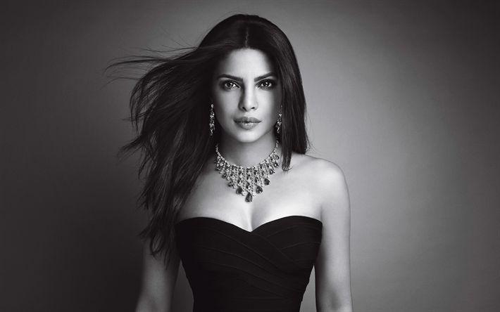 Download wallpapers Priyanka Chopra, 4k, monochrome, Bollywood, beauty, indian actress